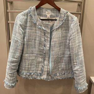 J Crew tweed fringe blazer